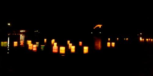 広沢池で送り火