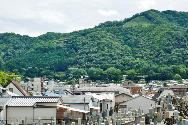 吉田神楽岡墓地で大文字送り火
